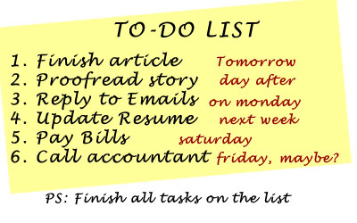 To-Do List - Don't Procrastinate